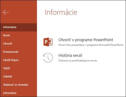 Karta informácie o Office Online so zobrazením položky histórie verzií.