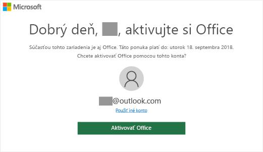 """Zobrazuje obrazovku """"Poďme aktivovať Office"""", ktorá označuje, že Office sa nachádza vtomto zariadení"""
