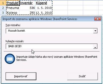 Import do zoznamu služby SharePoint