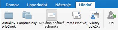 Prehľadávanie aktuálnej poštovej schránky