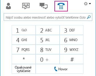 Snímka obrazovky s ikonou telefónu a zobrazením zariadenia na vytáčanie, ktoré možno použiť na uskutočnenie hovoru
