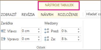 Obrázok príkazu Nástroje tabuliek, ktorý sa zobrazí v hornej časti pásu s nástrojmi po kliknutí na ľubovoľné miesto v tabuľke.