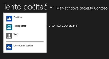 Výber možnosti OneDrive for Business zinej aplikácie