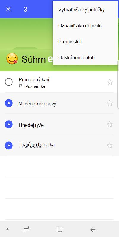Snímka obrazovky zobrazujúca možnosť Premiestniť úlohy v zariadení s Androidom