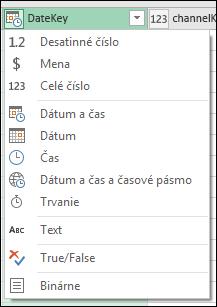 Power Query – indikátor typu stĺpca v hlavičkách stĺpcov v ukážke v editore dotazov