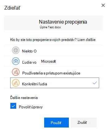 Použitie dialógového okna Nastavenie prepojenia na zadanie povolení pre prepojenie na zdieľanie