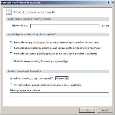Formuláre programu SharePoint Designer