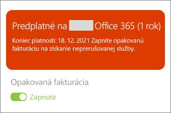 Skontrolujte podrobnosti predplatného služieb Office 365
