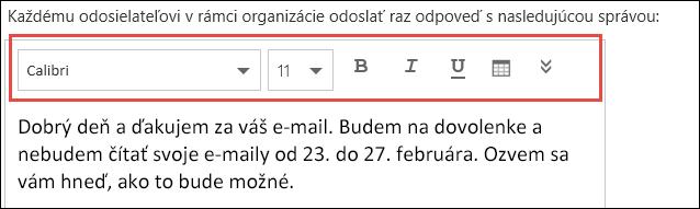 Správa automatických odpovedí vOutlooku na webe