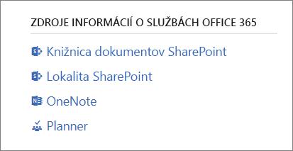 Zdroje informácií oslužbách Office 365