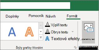Tlačidlo alternatívny text na páse s nástrojmi Excelu pre Windows