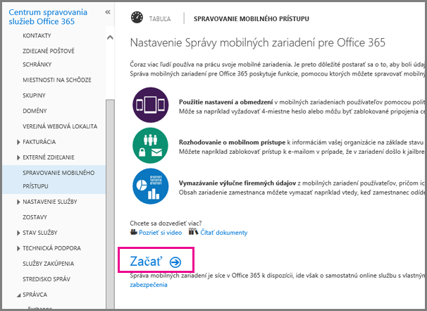 Nastavenie správy mobilných zariadení pre Office 365