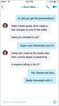 Obrazovka konverzácie vSkype for Business pre iOS
