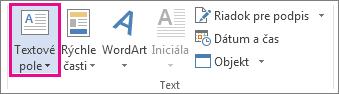 Príkaz Textové pole na karte Vložiť