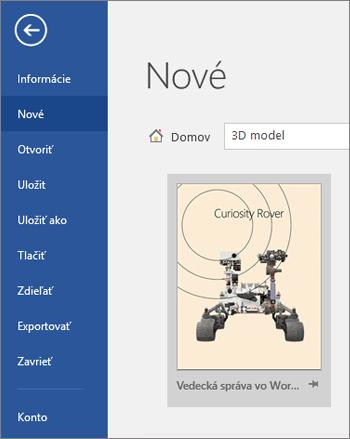 Zobrazenie šablóny 3D modelu včasti Súbor > Nové