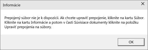 Chyba prepojeného súboru v PowerPointe