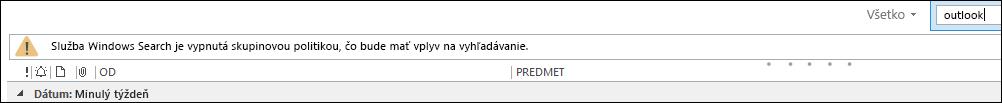 Služba Windows Desktop Search je zakázaná