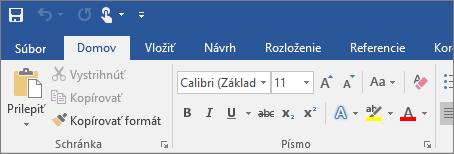 Zobrazí sa farebný pás s nástrojmi vo Worde 2016