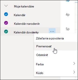 Snímka obrazovky s kontextovou ponukou kalendára s vybratou položkou Premenovať