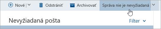 Snímka obrazovky stlačidlom Nie je nevyžiadané