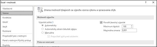 Snímka obrazovky s iteračný výpočet nastavenia