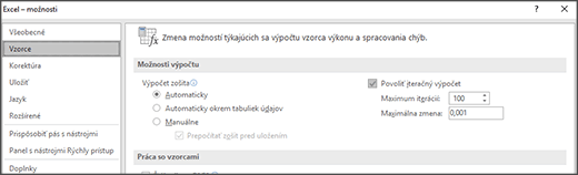 Snímka obrazovky nastavení iteračného výpočtu