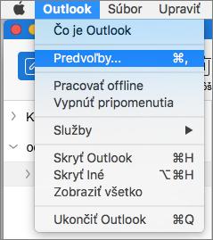 Ponuka Outlooku so zvýraznenou položkou Predvoľby