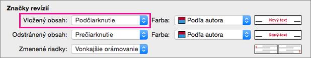 V dialógovom okne sledovania zmien typ značky vložený je zvýraznená.