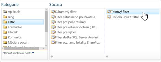 Výber webovej časti Textový filter