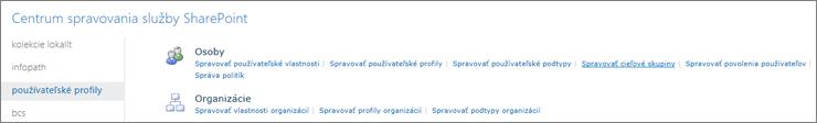 Správa cieľových skupín prepojenie na stránke používateľské profily
