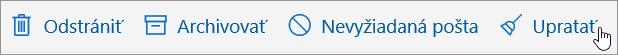 Snímka obrazovky zobrazuje možnosť usporiadať vybraté na paneli s nástrojmi E-mail.