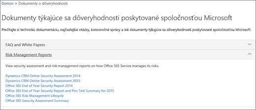 Zobrazenie stránky zabezpečenia služby: Dôverovanie dokumentom od spoločnosti Microsoft