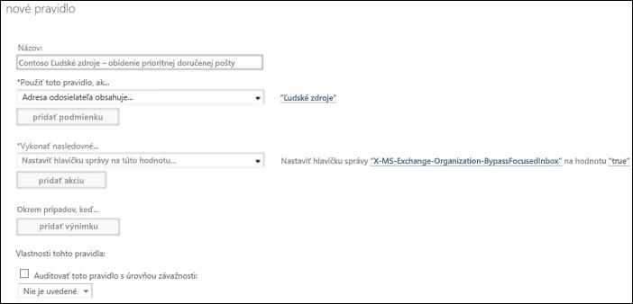 Snímka obrazovky: Vytvorenie a uloženie nového pravidla prioritnej doručenej pošty