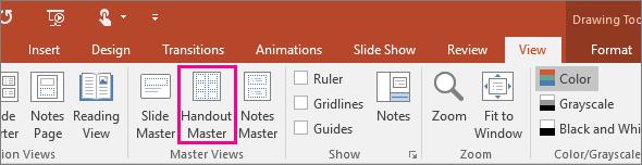 Položka Predloha podkladov na karte Zobraziť v PowerPointe