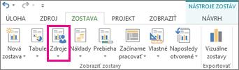 Tlačidlo Zdroje na karte Zostava