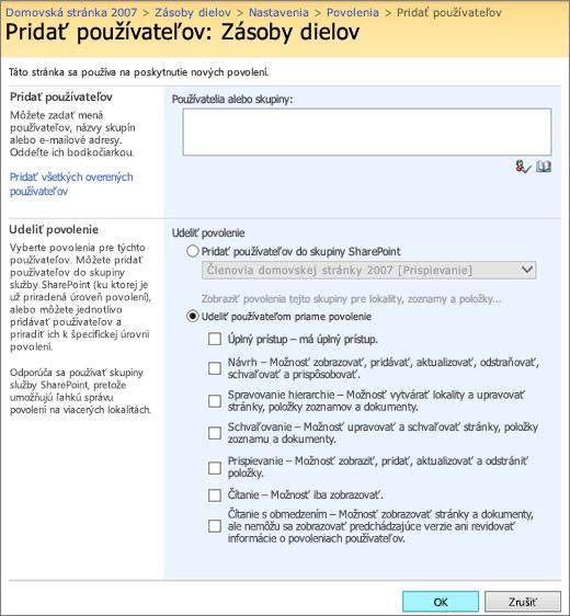 Dialógové okno Pridanie používateľa