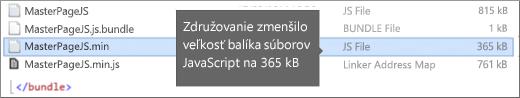 Snímka obrazovky zobrazujúca zmenšenú veľkosť sťahovaného súboru