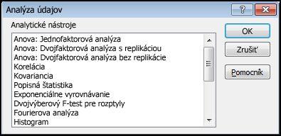 Dialógové okno Analýza údajov