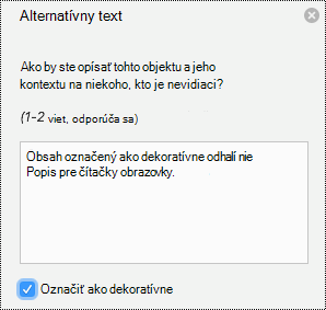 Alternatívny text v PowerPointe pre Mac v Office 365.