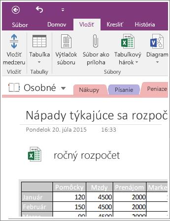 Snímka obrazovky s vloženým tabuľkovým hárkom vo OneNote 2016.