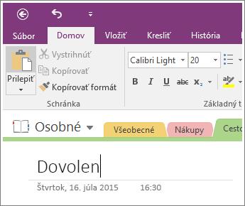 Snímka obrazovky pri pridávaní názov strany na stranu vo OneNote 2016