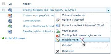 Rozbaľovací zoznam pre súbor programu SharePoint. Funkcia História verzií je zapnutá.