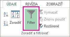 Tlačidlo Filter