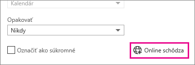 Outlook Web App, tlačidlo Schôdza online