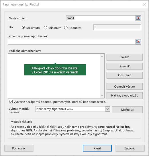 Obrázok Excelu 2010 a dialógového okna Riešiteľ