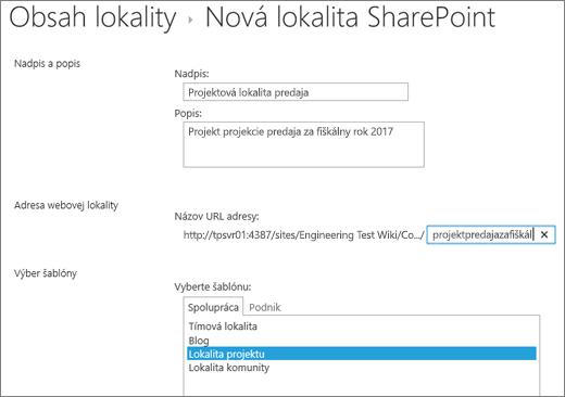 Obrazovka vytvorenia podlokality SharePointu 2016