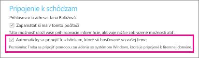 """Všeobecné možnosti pre overeného používateľa, ak je začiarknuté """"Zapamätať si ma v tomto počítači"""""""