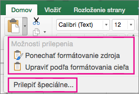 Paste menu, showing options and Paste Special
