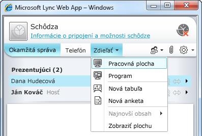 Ponuka Zdieľať v aplikácii Lync Web App
