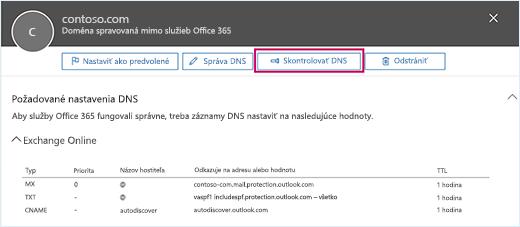 Snímka obrazovky zobrazuje stránku Požadované nastavenia DNS so zameraním na tlačidle Skontrolovať DNS.